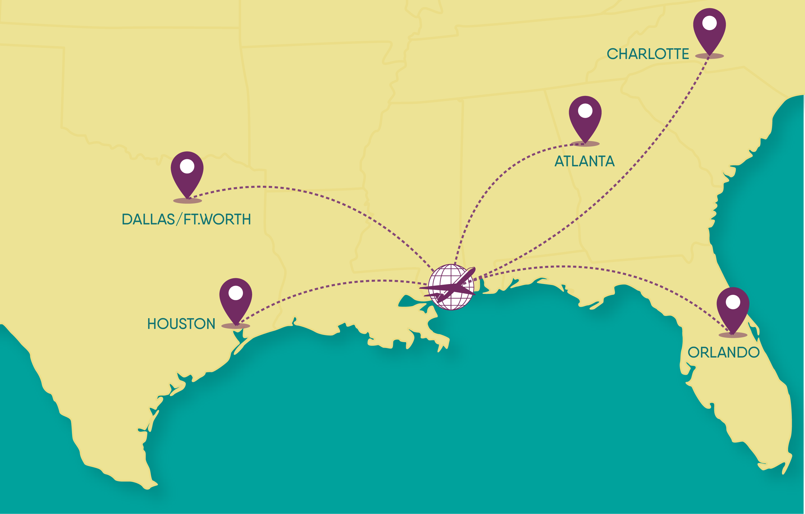 Gulfport Airport can fly to Houston, Dallas/Fort Worth, Atlanta, Charlotte and Orlando!